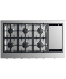 """Gas Cooktop 48"""", 6 burners with griddle"""