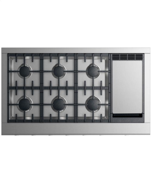 """Gas Rangetop 48"""", 6 burners with griddle"""