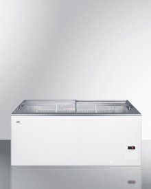 Flat Top Commercial Ice Cream Freezer With Sliding Glass Lid, Digital Thermostat, Novelty Baskets, and 16.6 CU.FT. Capacity