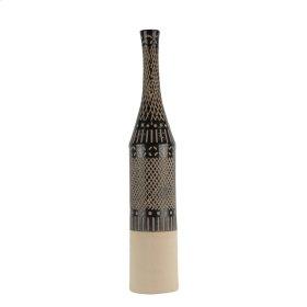 "Ceramic 27.25"" Tribal Print Bottle Vase, Brown"