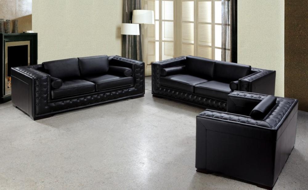 Beau Divani Casa Dublin   Modern Tufted Leather Sofa Set