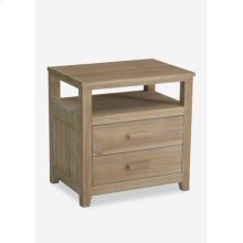 Davis Solid Wood Bedside Table With 2 Drawers In White Patina - Wood Handle (24x18x24)