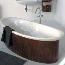 "Free-standing wooden skirt for bathtub 6059, 70""W, 32 5/8""D, 18 3/4""H"