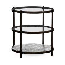 Distressed Bronze Three Tier Table
