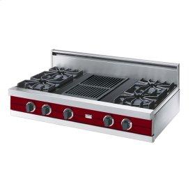 "Apple Red 42"" Open Burner Rangetop - VGRT (42"" wide, four burners 12"" wide char-grill)"