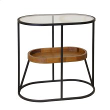"""Metal/wood 22"""" 2-tier Accent Table, Wood Glass Top Black"""