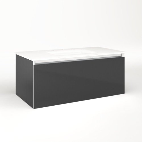 "Cartesian 36-1/8"" X 15"" X 18-3/4"" Single Drawer Vanity In Smoke Screen With Slow-close Plumbing Drawer and No Night Light"