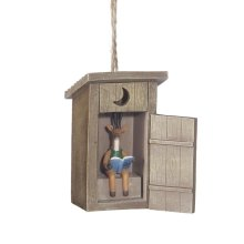 Outhouse with Deer Inside Ornament.