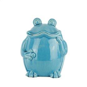 "Ceramic Standing Frog 6.75"" ,teal"