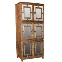 Bengal Manor Acacia Wood 6 Door Mirrored Tall Cabinet