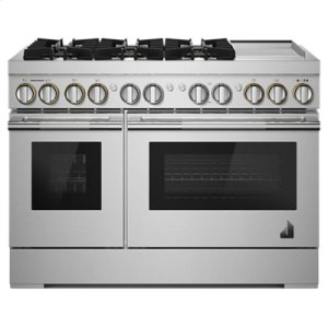 "JennAirRISE 48"" Dual-Fuel Professional-Style Range with Chrome-Infused Griddle and Steam Assist"