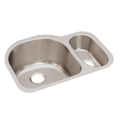 "Elkay Lustertone Classic Stainless Steel 26-3/4"" x 20"" x 10"", Offset 70/30 Double Bowl Undermount Sink"