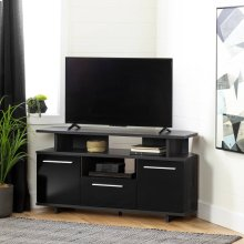 Corner TV Stand - Gray Oak and Black