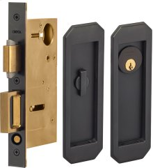Pocket Door Lock with Traditional Trim featuring Turnpiece and Keyed Entry in (US10B Oil-Rubbed Bronze, Lacquered)