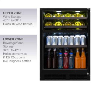 """Marvel24"""" Dual Zone Wine and Beverage Center - Panel-Ready Framed Glass Overlay Door - Integrated Left Hinge"""
