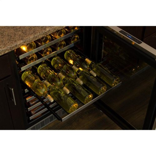 """24"""" High Efficiency Single Zone Wine Cellar - Stainless Frame, Glass Door With Lock - Integrated Right Hinge, Professional Handle"""
