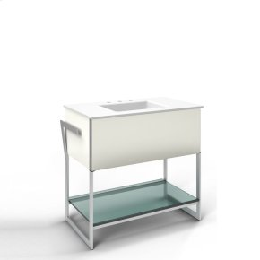 """Adorn 36-1/4"""" X 34-3/4"""" X 21"""" Vanity In Beach With Slow-close Plumbing Drawer, Towel Bar On Left and Right Side, Legs In Brushed Aluminum and 37"""" Stone Vanity Top In Quartz White With Integrated Center Mount Sink and 8"""" Widespread Faucet Holes"""