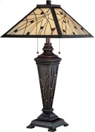 Table Lamp - Dark Bronze/tiffany Shade, E27 Cfl 13wx2 Product Image