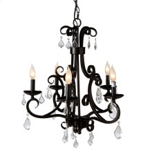 Black Scroll Beaded Chandelier. 25W Max. Plug-in with Hard Wire Kit Included.