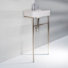 "Floor-standing stainless steel console stand with a towel bar, 16""W, 11""D, 31""H. Washbasin 5462 sold separately."
