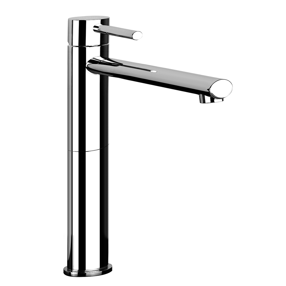 "Tall single lever washbasin mixer with pop-up assembly Extended spout projection 8-5/16"" Height 11-3/4"" Includes drain Max flow rate 1"