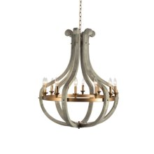 12 Light Chandelier in Wood and Rustic Brass Finis