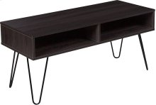 Oak Park Collection Driftwood Wood Grain Finish TV Stand with Black Metal Legs