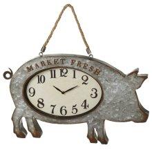 Galvanized Pig Wall Clock