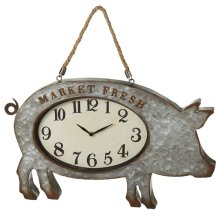 Galvanized Pig Wall Clock