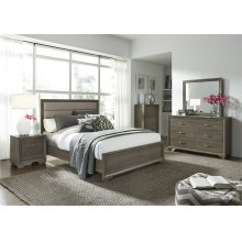 King Uph Bed, Dresser & Mirror, Chest, N/S