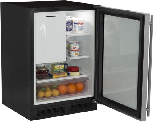 "24"" Refrigerator and Freezer with MaxStore Utility Bin (Marvel) - Solid Stainless Steel Door, Left Hinge"