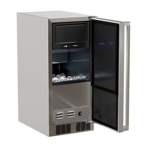 "Marvel15"" Marvel Outdoor Clear Ice Machine - Solid Stainless Steel Door, with Factory Installed Drain Pump - Left Hinge"