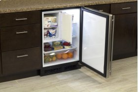 """24"""" Refrigerator and Freezer with MaxStore Utility Bin (Marvel) - Smooth White Door, Right Hinge"""