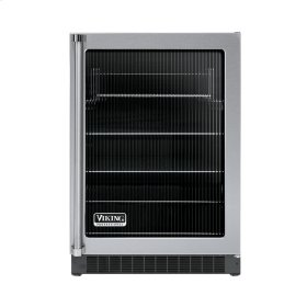 """Stainless Steel 24"""" Glass Door Beverage Centers - VUAR (Black Interior, Fluted Glass, Right Hinge)"""