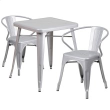 23.75'' Square Silver Metal Indoor-Outdoor Table Set with 2 Arm Chairs
