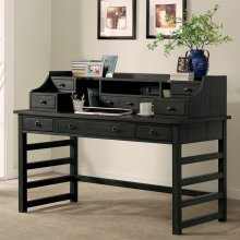 Perspectives - Leg Desk With Hutch - Ebonized Acacia Finish