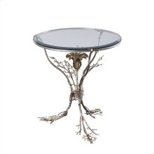 Silver Finished Occasional Table with Inset Beveled Glass, Floral Motif