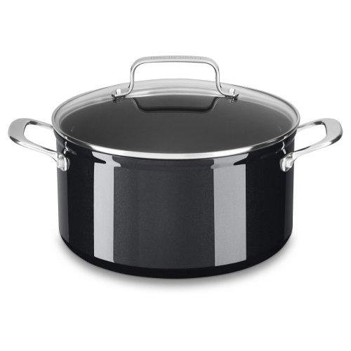 6 Quart Hard Anodized Non-Stick Low Casserole with lid - Black Sapphire