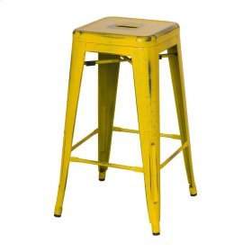 Metropolis Metal Backless Counter Stool, Dis.Yellow/Paint Drops