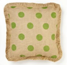 Green Dot Burlap Pillow