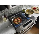 Kitchenaid 30-Inch 4-Burner Dual Fuel Downdraft Slide-In Range - Stainless Steel