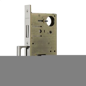 Satin Brass and Black 8602 Pocket Door Lock with Pull