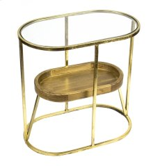 2-tier Gold Accent Table, Wood, Glass Top