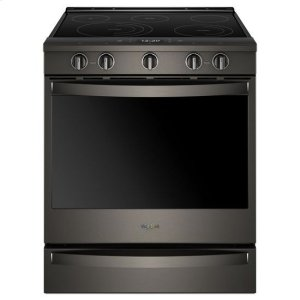 Whirlpool(R) 6.4 Cu. Ft. Smart Slide-in Electric Range with Frozen Bake(TM) Technology - Black Stainless - BLACK STAINLESS
