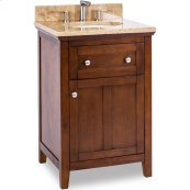 "24"" vanity with chocolate finish and a clean shaker design with preassembled top and bowl."
