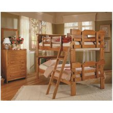 Heartland Bookcase Scalloped Bunk Bed with options: Honey Pine, Twin over Twin