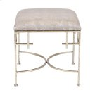 Hammered Silver Leaf Stool W. Faux Snakeskin Upholstered Top Product Image
