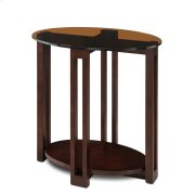 Oval Bronze Glass Top Contemporary Side Table #10011-CH Product Image