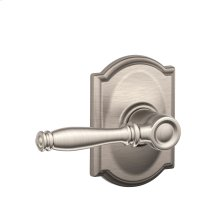 Birmingham Lever with Camelot trim Hall & Closet Lock - Satin Nickel