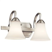 Keiran 2 Light Vanity Light with LED Bulbs Brushed Nickel